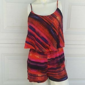Arizona Purple and Orange Shorts Romper